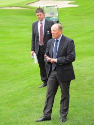 The winner's speech watched closely by England Golf's Director of Championships James Crampton